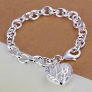 925 Sterling Silver bracelet with filigran heart