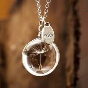 Handmade round dandelion glass necklace