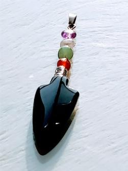 Arrowhead pendant black onyx agate -