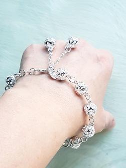 925 sterling silver bracelet with filigran beeds -