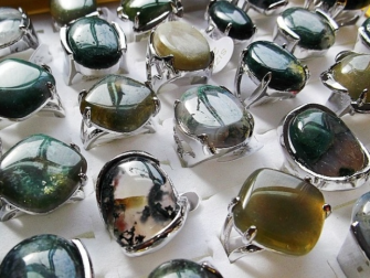 Green Agate Amber Stone Silverplated Ring - 16 mm