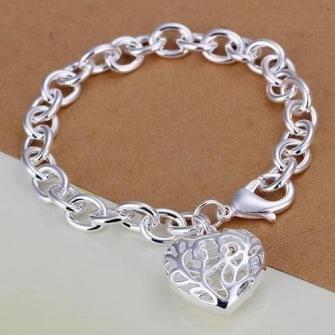 925 Sterling Silver bracelet with filigran heart -