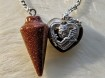 Pendulum with heart's - 3 types of Brown Colours - Pendel Goldstone, Brown/grey Agate