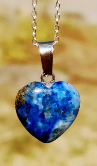 1 pcs Lapis Lazuli Pendant heart with 925 Sterling Silver chain - Without chain