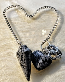 Pendulum with heart's - 2 types of Grey Colours - Pendel Black and Grey Jaspis