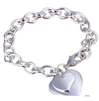 925 sterling silver bracelet with hearts -