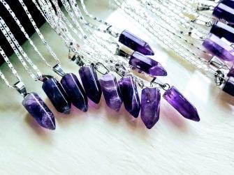 1 pcs Amethyst Pendulum Necklace - 45 cm chain