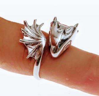 Unisex ONE SIZE ring with silver dragon -