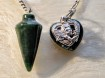 Pendulum with heart's - 2 types of Green Colours - Darkgreen Jade with Agate heart