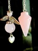 Pendulum Rose Quartz with Angel