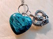 Pendulum with heart's - 2 types of Blue Colours - Dark Turquoise with Blue Onyx heart