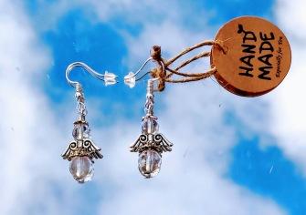 Angel earrings in clear crystal stone -