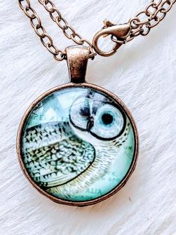 Pendant Cabochon - Owl - Owl - Ocean Green