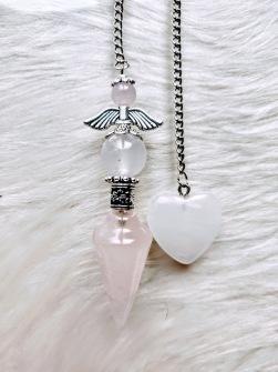 Angel Pendulums in Rose Quartz - CREATED ON DEMAND -