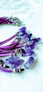 1 pcs Amethyst pendulum Necklace with pearl and feather