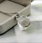 Handmade disc-shaped dandelion glass necklace