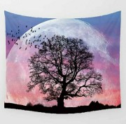 Giant Pink Moon with Tree - Table Cloth - Bordsduk