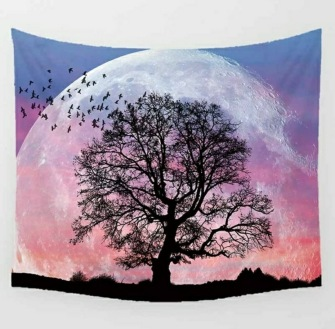 Giant Pink Moon with Tree - Table Cloth - Bordsduk -