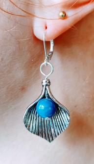 Mermaid Blue Agat Earrings -