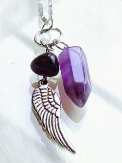 1 pcs Amethyst pendulum Necklace with pearl and feather -