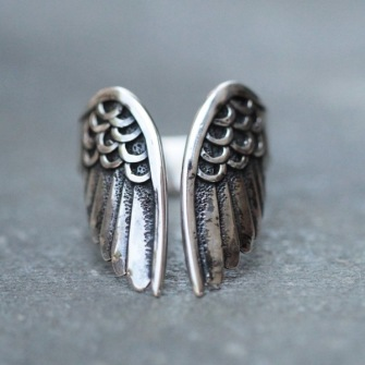 Angelwing steel ring -