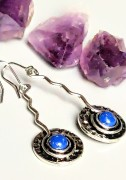 Spiral steel lapis lazuli earrings
