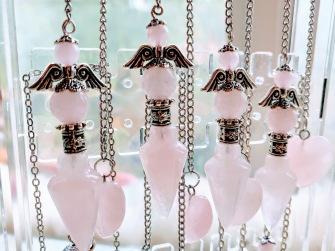 Angel Pendulums in Rose Quartz -