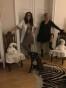Vicky klänning/handstickad och grafitgrått linne
