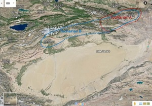 Google Earth view of Xinjiang, with the areas of  Tocharian A and Tocharian B marked on the map