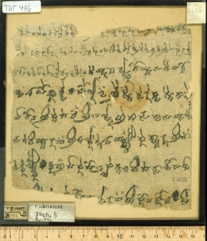 "Tocharian B text THT 496, in cursive script, containing a literary poem, ""Love letter"". From CEToM database."