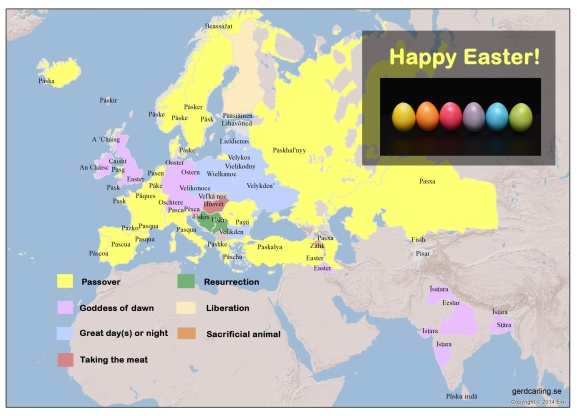 Words for Easter in Eurasian languages, defined by their meaning.