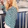 Cashe Design- Flower blouse green - cashe design flower top green xl