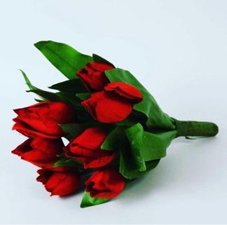Tulpaner i bukett röd 24cm
