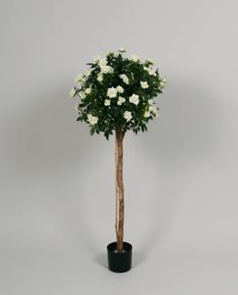 Ros på stam boll form vit. 80cm
