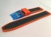 Gummi med Kolfiber - SILVERSTONE - 22 mm, orange med orange söm