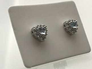 Silverörhängen som Hjärta - HJÄRTA - Akvamarin (blå)