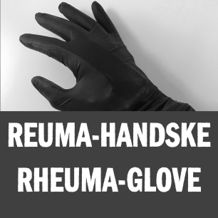 Image description: A hand wearing a rheuma-glove.