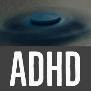 Syn-tolkning: En bild på en snurrande fidget spinner. Bilden beskriver ADHD.