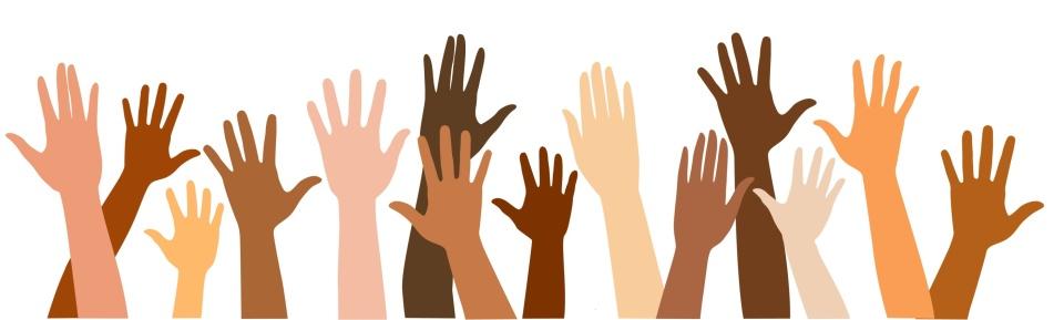 Syn-tolkning: Tecknade händer i olika storlekar, former och med olika hudfärger som sträcker sig uppåt.