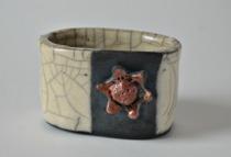 Rakubränt, Visitkortshållare, Eva-Lottas Keramik i Kungsbacka