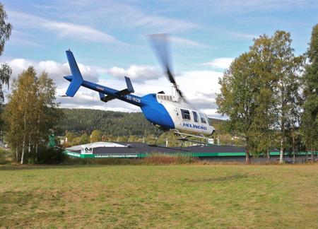 Rundflygning över Årjäng med helikopter.