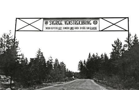 Gränspassagen från Norge till Sverige på 1930-talet. Foto: okänd / kopia Bengt Erlandsson.