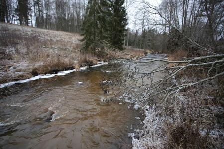 1 december 2016 - Vattnet rinner vidare mot sjön Töck.