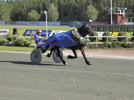 Odins Eld med Torbjörn Jansson i sulkyn, segrade i Erik Perssons Memorial 2017.