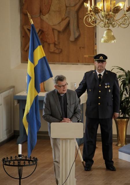 Kyrkoherde Rune Wallmyr höll Högtidstalet i kyrkan.