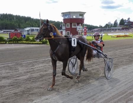 Vinnaren V75 lopp 1 - Caballion med kusken Fredrik B. Larsson.