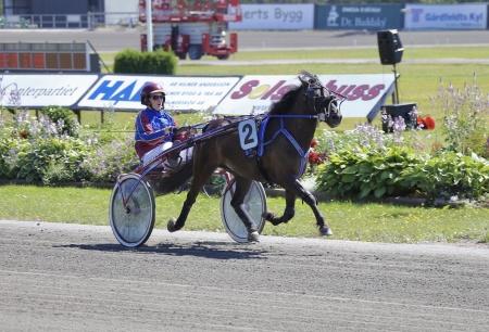 Jas Gripen med Paula Christensson i sulkyn vann Årjängs Lilla Sprinterlopp 2018.