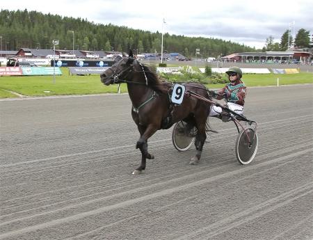 Årjängs Lilla Sprinterlopp - nr 9 Pelle Plopp med kusken Elin P. Lunde.
