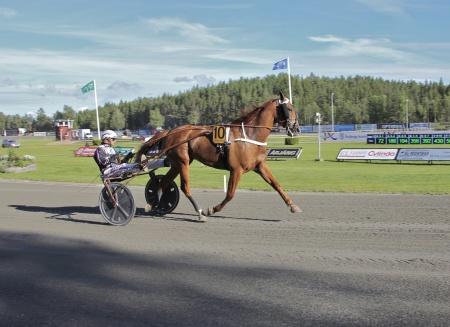 Årjängs Stora Sprinterlopp - nr 10 Västerbo Highflyer med Ulf Ohlsson i sulkyn.