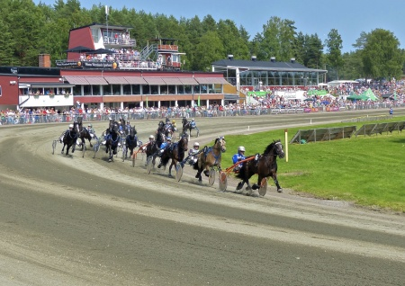 Hästen Gobbi med Olle Goop i sulkyn leder V75-2 Erik Perssons Memorial.